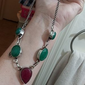 Raw emerald, ruby and chalcedony necklace